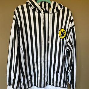 GOLF WANG striped hoodie sweatshirt black white L